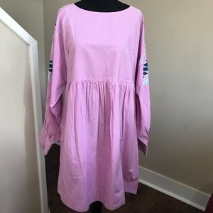 Free people embroidered purple com dress Sz large